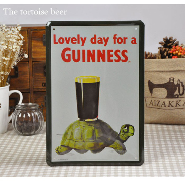 Wholesale 20*30cm Lovely day for a GUINNESS Green Turtles Beer Poster For Bar Pub Wall Decor Tin Sign Metal Paintings Plaques Signs