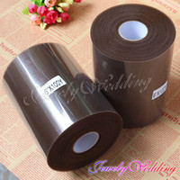 """Wholesale Tulle Rolls Free Shipping - Free Shipping 2 Piece Brown Tulle Roll Spool 6""""x100YD Tutu DIY Circle Skirt Fabric Wedding Banquet Adornment Gift Bow Craft"""