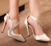 Wholesale Champagne Color Shoes Rhinestones - 2014 new luxury champagne color rhinestone fashion high heels sandals wedding bridemaid stiletto heel dress shoes ePacket Free Shipping
