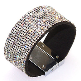 Full Crystal Magnetic Wrap Armband Strass Bling Armband Wickel Magnetische Verschluss Armband