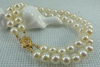 Wholesale Gold Plated Natural Pearl Bracelet - Wholesale 2 row 8-9mm white Natural south pearl bracelet 14k gold clasp