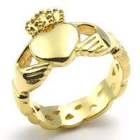 Wholesale Claddagh Bands - Whitney_houston Jewelry Stainless Steel Band Celtic Claddagh Heart Crown Love Mens Womens Ring, Gold US Size 6 to 13 Drop Free Shipping