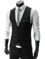 colete formal para homem venda por atacado-HOT Mens Com Decote Em V Slim Fit Coletes Terno Formal Ocasional Tuxedo Vestido Colete Estilo