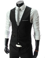 Wholesale Hot Mens Suit Dress - HOT Mens V-Neck Slim Fit Vests Suit Casual Formal Tuxedo Dress Waistcoat Style