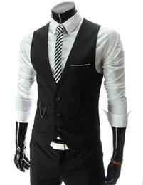 giarrettiera fiocco di gemelli di ascot Sconti HOT Mens V-Neck Slim Fit Gilet Suit Casual formale Tuxedo Dress Gilet Style