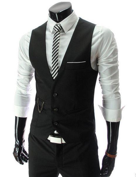 best selling HOT Mens V-Neck Slim Fit Vests Suit Casual Formal Tuxedo Dress Waistcoat Style