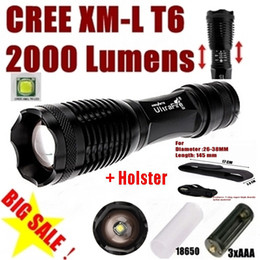 Wholesale Holsters For Torches - USA EU Hot Sel E007 CREE XM-L T6 2000Lumens 5 Mode Zoom CREE LED Flashlight Torch For 3 x AAA or 1 x 18650 +Flashlight Holster