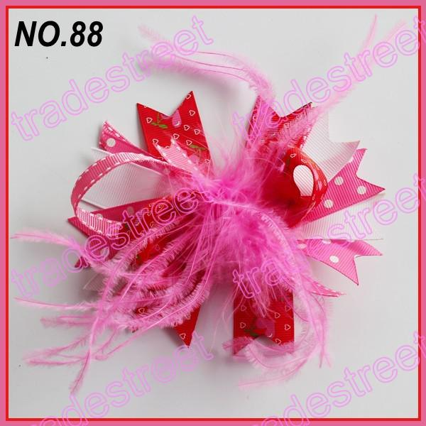 free shipping 110pcs mix color fashion boutique girl hair bows feather bows popular baby hair clips