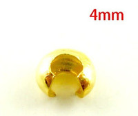 altın kıvrım toptan satış-Ücretsiz Kargo 500 Adet Altın Kaplama Ton Sıkma Boncuk 4mm Kapakları