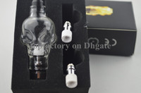 Wholesale Skull Clearomizer - Skull Glass globes Atomizer with 2 coils in retail package Tank Dry Herb Vaporizer Clearomizer Atomizer for E Cigarette kit