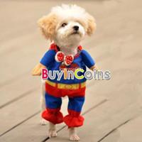Wholesale T Shirt Superman Xs - Wholesale - Blue Red Puppy Pet Dog Clothes Costumes Superman Apparel T Shirt Suit Size L M XS S #46020 8709