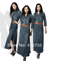Wholesale Maxi Dress For Women - Free Shipping 2015 New Fashion Long Maxi Denim Dresses For Women Plus Size Ladies Jeans Vintage Sexy Dresses With Double Slits