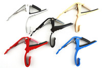 Wholesale Guitar Strings Clamp - Acoustic Guitar Electric Guitar 6-Strings Guitar Capo Change Capos Key Clamp 5 Colors Free Shipping Wholesales