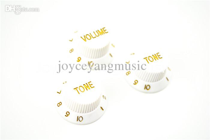 White 1 Volume & 2 Tone Knobs Electric Guitar Control Knobs For Fender Strat Style Guitar Wholesales