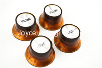 Wholesale Electric Guitar Amber - 1 Set of 4pcs Amber Silver Reflector Electric Guitar Knobs For SG Style Electric Guitar Free Shipping Wholesales