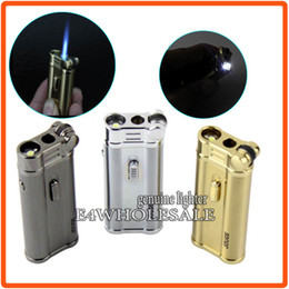 Wholesale Portable Butane Gas - W White LED Light Men's Lighter Portable Wheel Jet Blue Flame Butane Gas Cigarette Cigar Lighter