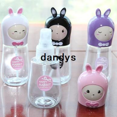 5 unids / lote 55 ml Lindo Conejo Mini Plástico Transparente Pequeña Botella de Aerosol Vacía para Maquillaje y cuidado de la Piel Botella de Perfume BFNJ-22, dandys