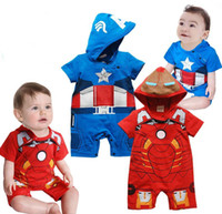 Wholesale Iron Man Romper - Summer clothing for toddler red iron man blue captain america cartoon short sleeve baby modelling romper infant hoodie jumpsuit