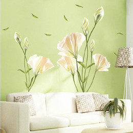 Wholesale Tv Wall Decoration - Wholesale - 6th generation free shipping wall stickers bedroom living room TV backdrop decoration sticker decal sticker romantic lily