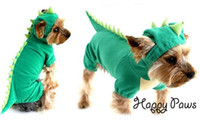 Wholesale Dinosaur Dog Clothes - Wholesale - Fashion dinosaur hoodie pet dog costume clothes Halloween necessary soft velure material Pet coat sweater product Free Shipping