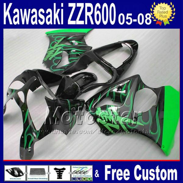 7 gifts ABS fairings set for kawasaki 2005 2006 2007 2008 green flame in black ZZR600 ZZR 600 05-08 custom fairing kit SD1