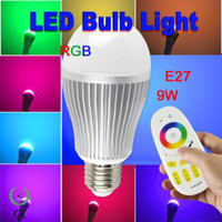 Wholesale Highest Power Rgb E27 9w - 9W RGB LED Bulbs Lamp Wireless RF 2.4G Group Division 4-channel Remote Control Bulb High Power 9 Watts Lights 9leds Lighting Free Shipping