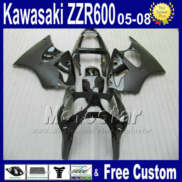 ABS plastic fairings set for kawasaki 2005 2006 2008 all matte black ZZR600 ZZR 600 05 06 07 08 custom fairing kit SD10