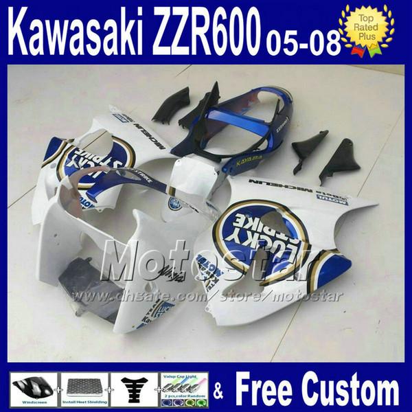 ABS plastic fairings set for kawasaki 2005 2006 2007 2008 white blue LUCKY STRIKE ZZR600 ZZR 600 05 06 07 08 custom fairing