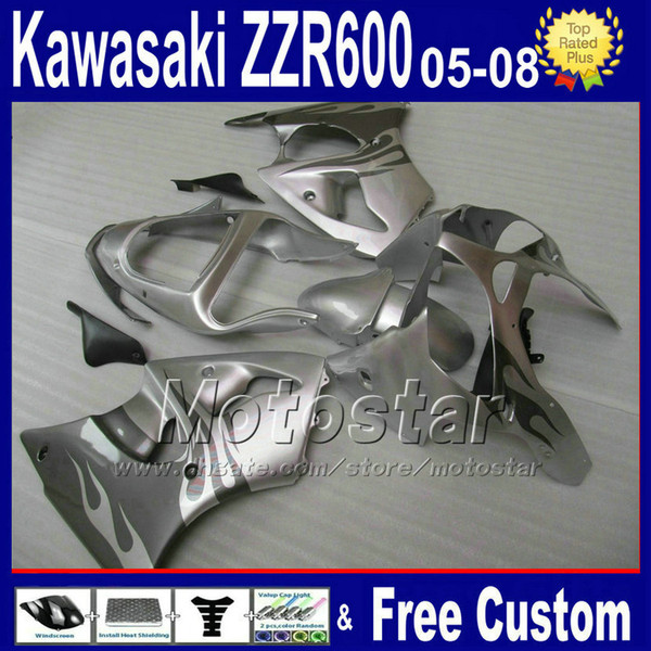 7gifts ABS motorcycle fairings for kawasaki 2005 2006 2007 2008 silver black plastic fairing kit ZZR600 ZZR 600 05 06 07 08 SD18