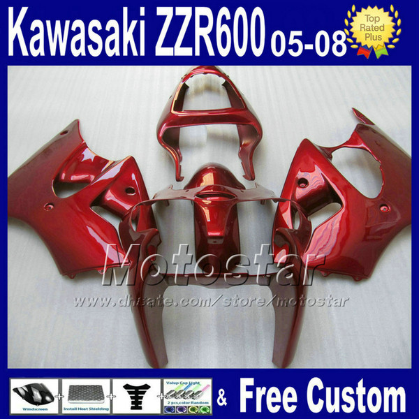 fairings set for kawasaki 2005 2006 2007 2008 all red body kits ZZR600 ZZR 600 05 06 07 08 customize fairing kit SD28