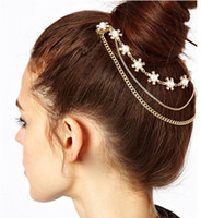 Wholesale Punk Hair Comb - Fashion Punk Rock 2 Combs Pearls And Crystal Tassels Fringes Chains Hair Cuff Pin Head Band Hot[JH01047*5]