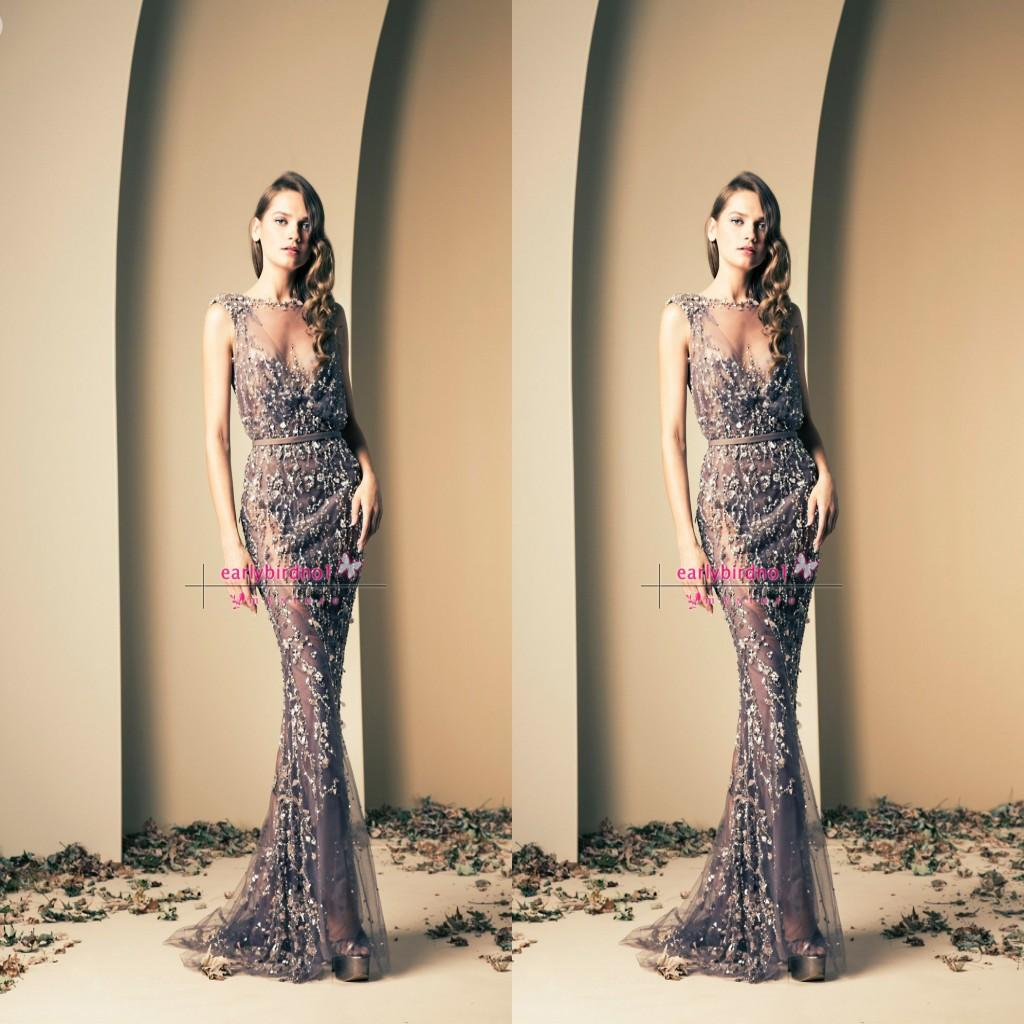 Ziad Nakad Glamorous Sheer Evening Gowns Applique in pizzo Mermaid Bateau Neck senza maniche Stunning formale lungo Prom Dresses BO2112 personalizzato