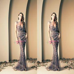 vestire ziad nakad Sconti Ziad Nakad Glamorous Sheer Evening Gowns Applique in pizzo Mermaid Bateau Neck senza maniche Stunning formale lungo Prom Dresses BO2112 personalizzato