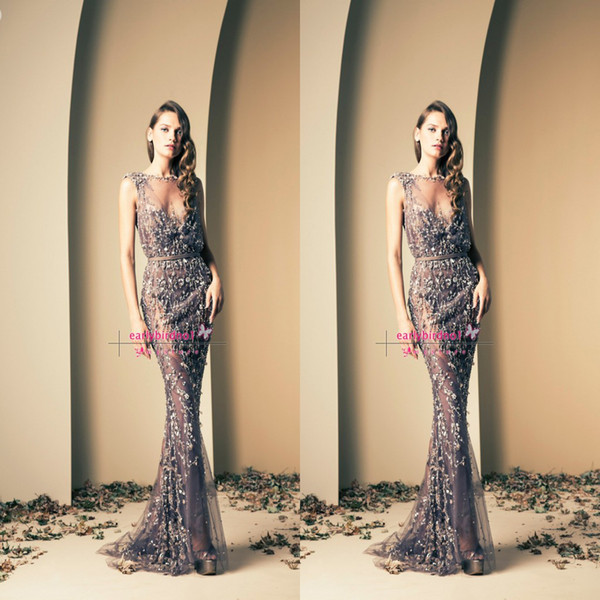 Ziad Nakad Glamorous Sheer Evening Gowns Lace Applique Mermaid Bateau Neck Sleeveless Stunning Formal Long Prom Dresses BO2112 Custom