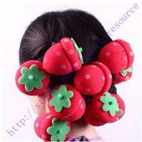 Wholesale Magic Strawberry Sponge Balls - New 12Pcs Magic DIY Hair Style Strawberry Balls Soft Sponge Hair Curler Rollers