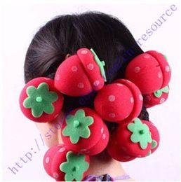 Wholesale Magic Hair Sponge Ball - New 12Pcs Magic DIY Hair Style Strawberry Balls Soft Sponge Hair Curler Rollers