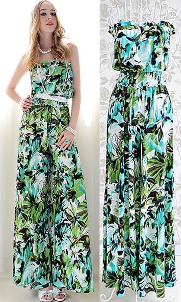 2018 Summer 2014 New Women Green Print Strapless Jumpsuit Romper