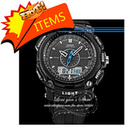 Wholesale Ohsen Lcd Dual Core - OHSEN LCD Dual Core Watch Mens Sport Date Day Stopwatch Black Rubber Band Wristwatch Dive Watches