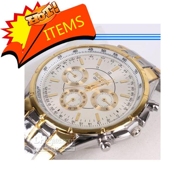 NOUVEAU blanc / noir / or cadran plaque Quartz main sport hommes montre-bracelet en acier cadeau
