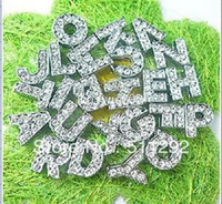 Wholesale Diy Full Rhinestone Letters - Wholesale - - Free shipping!260pcs lot 10mm A-Z Full Rhinestone Slide letters Charm DIY Accessories fit pet collar dog collar or bracelet
