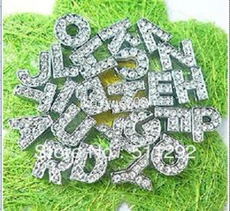 Wholesale Dog Collars Letter Charms - Wholesale - - Free shipping!260pcs lot 10mm A-Z Full Rhinestone Slide letters Charm DIY Accessories fit pet collar dog collar or bracelet
