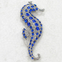 Wholesale Red Corsage Pins - Wholesale Fashion brooch Rhinestone Seahorse Pin brooches Corsage Men's Woman Accessories C101163
