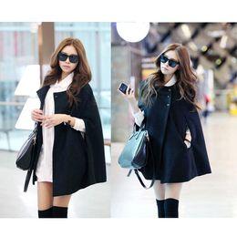 Wholesale Womens Black Cape - S5Q Womens Black Batwing Cape Wool Poncho Jacket Winter Warm Cloak Coat Fashion AAADAZ