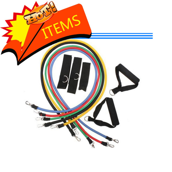 Wholesale - 11Pcs in 1 Set Fitness Resistance Bands Exercise Tubes Practical Elastic Training Rope Yoga Pull Rope Pilates Workout Cordages