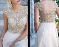 Wholesale Sequin Jeweled Prom Dress - New !! 2014 Chiffon long cap sleeve V back handmade chunky jeweled Aqua champagne blue prom dress pageant dress evening party gowns XJ404