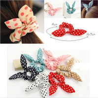 Wholesale Rabbit Ear Pony Tail - 100pcs Rabbit Ear Hair Tie Bands Accessories Japan Korean Style Ponytail Holder[HPX40M(10)*10]