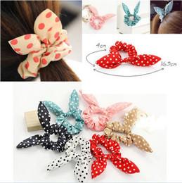 Wholesale Japan Style Hair Accessories - 100pcs Rabbit Ear Hair Tie Bands Accessories Japan Korean Style Ponytail Holder[HPX40M(10)*10]