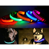 Wholesale Led Flashing Lights For Dogs - S5Q LED Light Flashing Pet Dog Safety Collar For Night Nylon Adjustable M L XL AAADAA