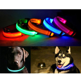 Wholesale Blue Dog Collars - S5Q LED Light Flashing Pet Dog Safety Collar For Night Nylon Adjustable M L XL AAADAA