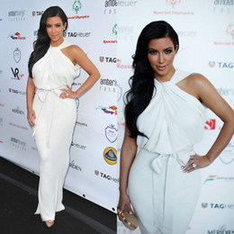 Discount sexy high fashion dresses - Celebrity Dresses Kim Kardashian Hot Halter High Neck Sleeveless White Chiffon Floor-length Sexy Evening Gowns Red Carpe
